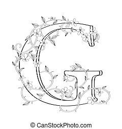 lettre, floral, g, croquis