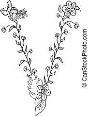lettre, floral, v, ornement