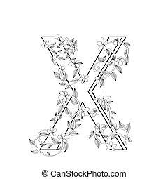 lettre, floral, x, croquis