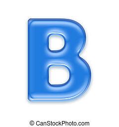 lettre, -, fond, isolé, eau, blanc, b