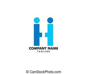 lettre, gens, h, créatif, conception, humain, logo