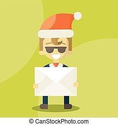 lettre, homme affaires, hat., news., lettres, bon, claus, noël, santa, heureux