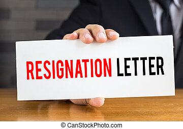 lettre, homme affaires, message, prise, démission, blanc, carte