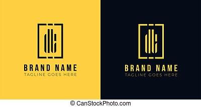 lettre, initiale, minimal, logo., résumé, dt