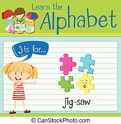 lettre, jig-saw, flashcard, j
