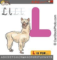 lettre,  l, lama, dessin animé