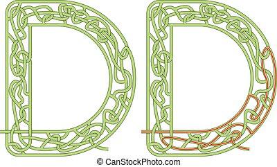 lettre, labyrinthe, d