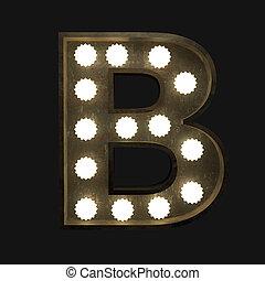 lettre, lampes, b, métal