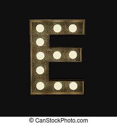 lettre, lampes, e, métal