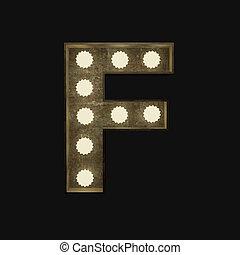 lettre, lampes, f, métal