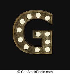 lettre, lampes, g, métal