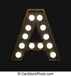 lettre, lampes, métal
