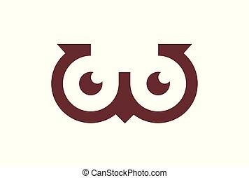 lettre, logo, w, hibou, icône