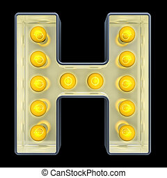 lettre, lumière, h, rendre, incandescent, retro, font., ampoule, 3d