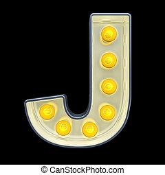 lettre, lumière, j, rendre, incandescent, retro, font., ampoule, 3d