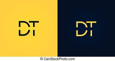 lettre, minimaliste, initiale, logo., résumé, dt