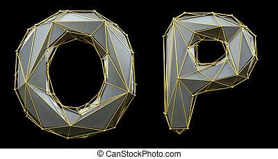 lettre, o, collection, or, 3d, réaliste, ensemble, color., polly, fait, render, style, p, bas, argent