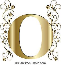 lettre, o, or, capital