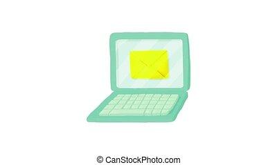 lettre, ordinateur portable, animation, icône