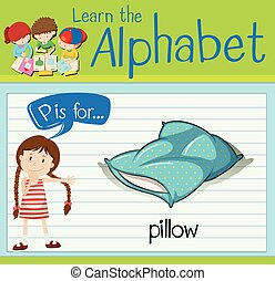 lettre, oreiller, flashcard, p