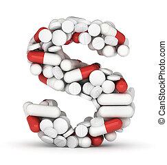 lettre s, alphabet, depuis, pilules