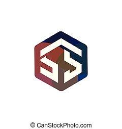 lettre, ss, vecteur, logo, initiale, hexagonal