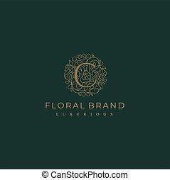 lettre, stylique floral, botanique, cercle, c, feuille, logo