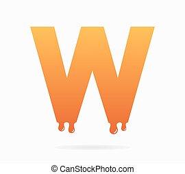 lettre, symbole, w, logo, ou, icône