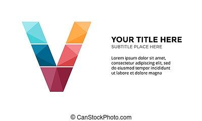 lettre, template., 16x9, business, vecteur, v, alphabet, ...
