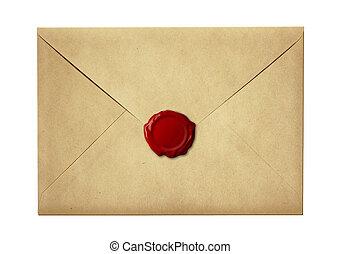 lettre, timbre, cire, enveloppe, isolé, scellé, cachet, courrier, blanc, ou