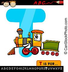 lettre, train, t, illustration, dessin animé