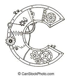 lettre, vecteur, gravure, mécanique, illustration, c