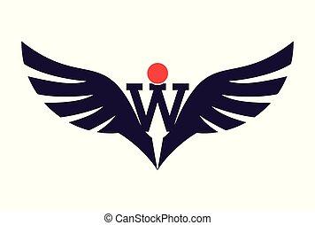 lettre, vecteur, logo, ailes, w