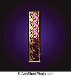 lettre, vecteur, or, violet