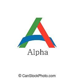 lettre, vecteur, papier, logo, coloré, lié, alpha