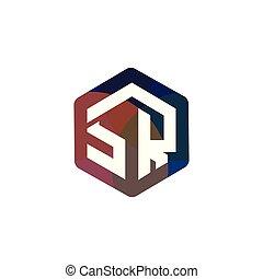 lettre, vecteur, sr, logo, initiale, hexagonal