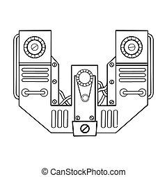 lettre, vecteur, w, gravure, mécanique, illustration