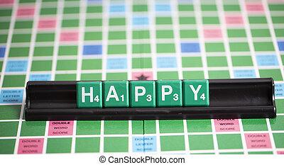lettre, vert, scrabble, est, orthographe, mot, heureux, sur, les, étagère