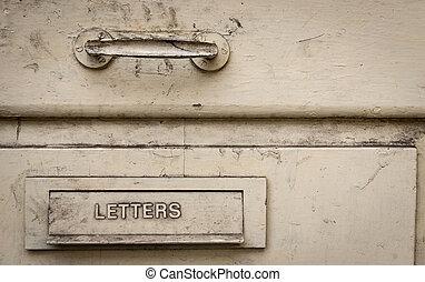 lettre, vieux, boîte, métal