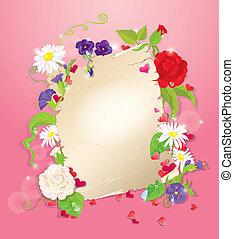 lettre, -, violet, fond, rose, rose, cœurs, fleurs, amour, jacinthe des bois, pâquerette, illustration