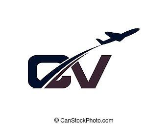 lettre, voyage, template., initiale, conception, ligne aérienne, logo, aviation, air avion, c, v