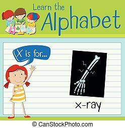 lettre x, flashcard, rayon x