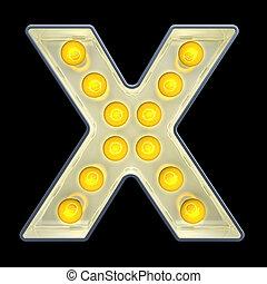 lettre x, lumière, rendre, incandescent, retro, font., ampoule, 3d