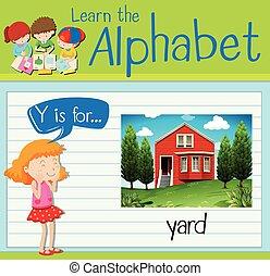 lettre, yard, flashcard, y