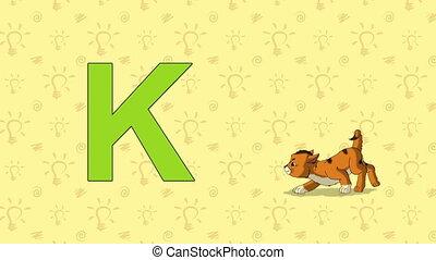 lettre, -, zoo, anglaise, kitten., alphabet, k