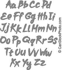lettres, alphabet, écrit, vecteur, brush., alphabet.