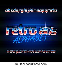 lettres, alphabet, effet, métallique, numbers., 80s, retro, font., petit, casquettes