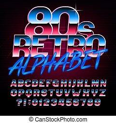 lettres, alphabet, effet, métallique, numbers., clair, retro, font., 80, type