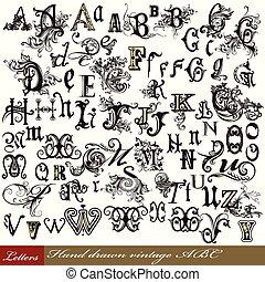 lettres, alphabet, ensemble, vendange, anglaise, tourbillon, main, dessiné