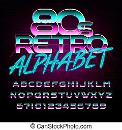 lettres, alphabet, métal, effet, numbers., retro, font., 80